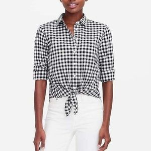 J.Crew Factory printed tie waist shirt